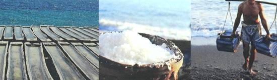 バリ島の完全天日塩TEJAKURAを作っている風景